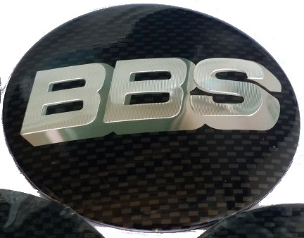 BBS wheel caps stickers 55mm - Carbon/Silver