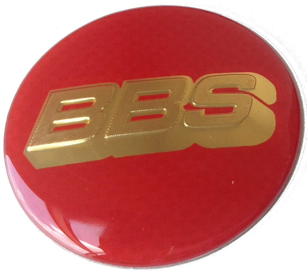 BBS wheel caps stickers 65mm - Red/Gold
