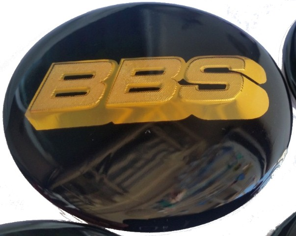 BBS wheel caps stickers 65mm - Black/Gold